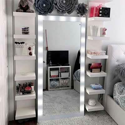 Espejo de Piso de Madera