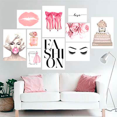 KIT Cuadros de tela Pink