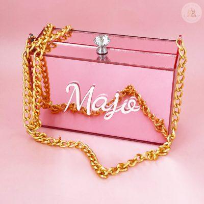 Bolsa clutch de acrilico rosa