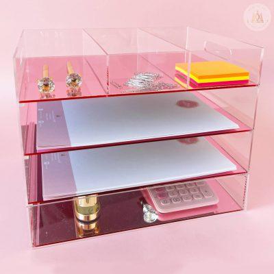 Organizador oficina acrilico rosa